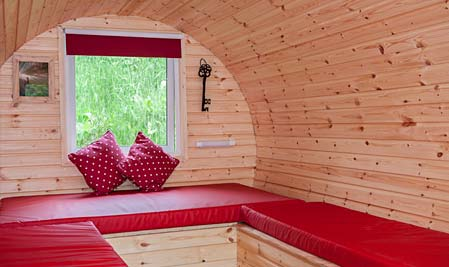 Inside on of our Hobbit Houses - glamourous camping accommodation